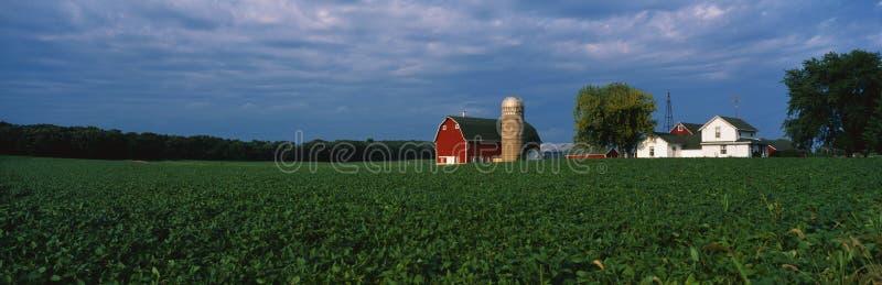 Azienda agricola con un silo e un granaio fotografie stock