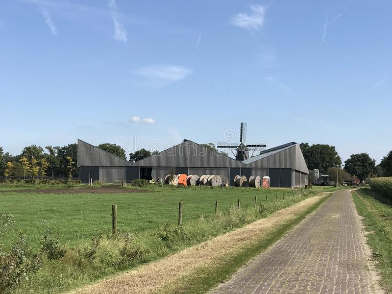 Azienda agricola con un vecchio mulino a vento fotografie stock libere da diritti