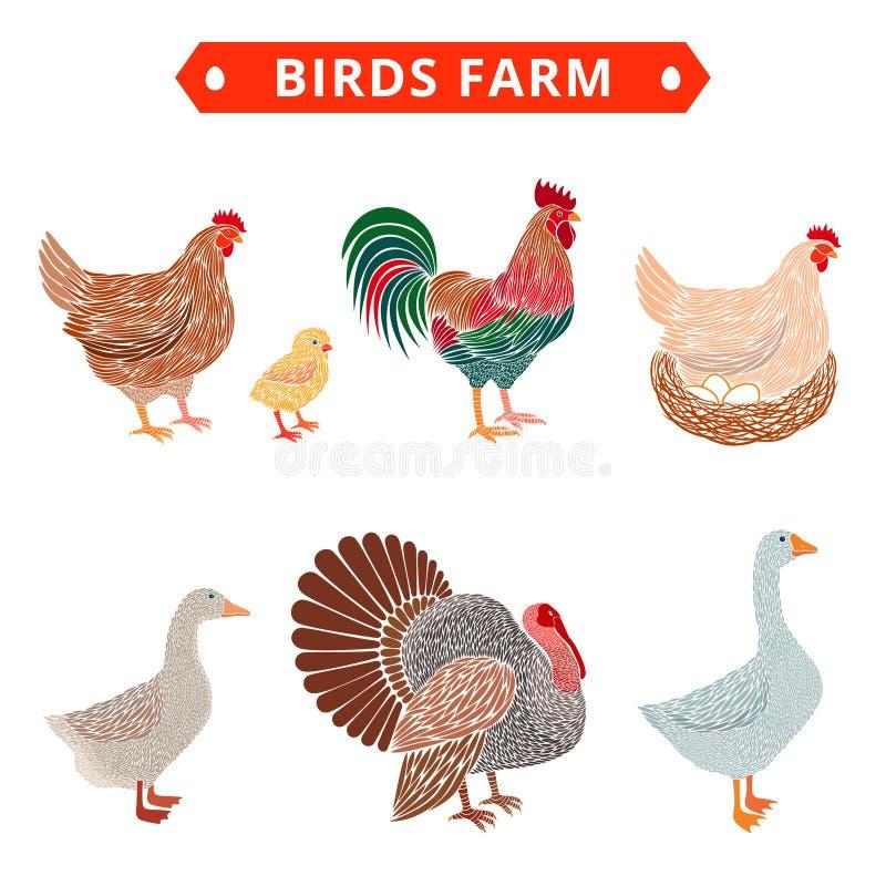Azienda agricola degli uccelli a colori royalty illustrazione gratis