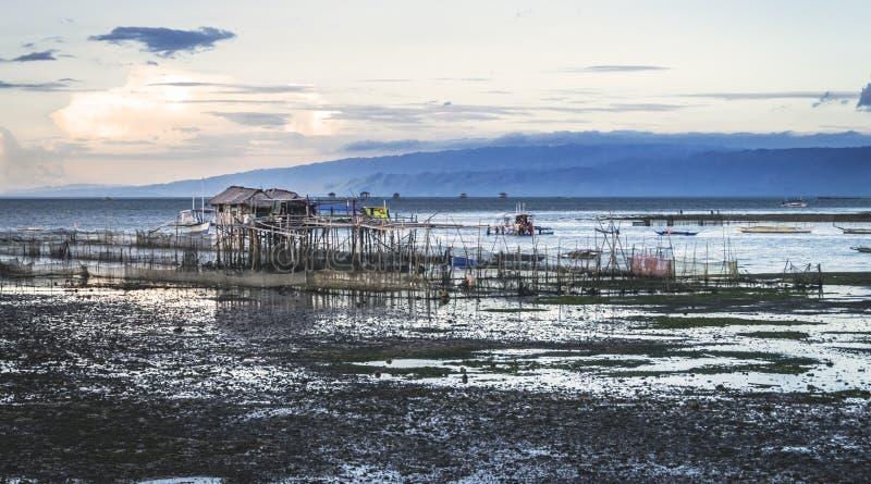 Azienda agricola dell'ostrica a bassa marea in Bais fotografie stock libere da diritti