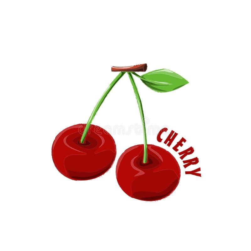 Azienda agricola della ciliegia di progettazione dell'icona di logo immagine stock libera da diritti