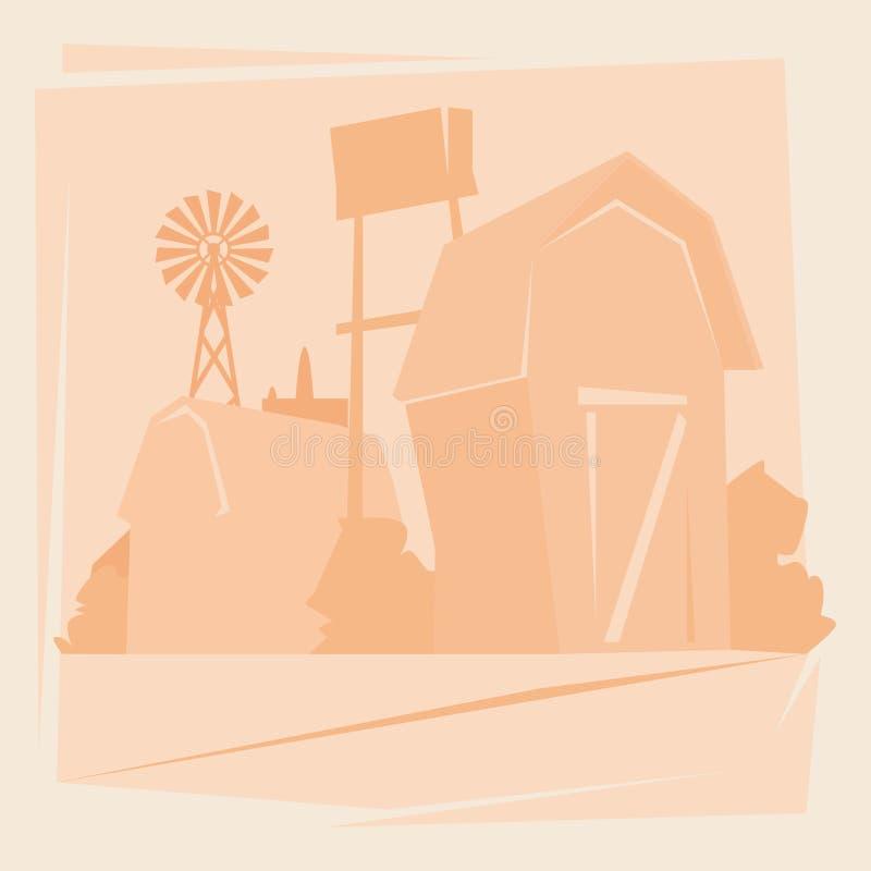 Azienda agricola della siluetta con la Camera, paesaggio della campagna del terreno coltivabile illustrazione vettoriale