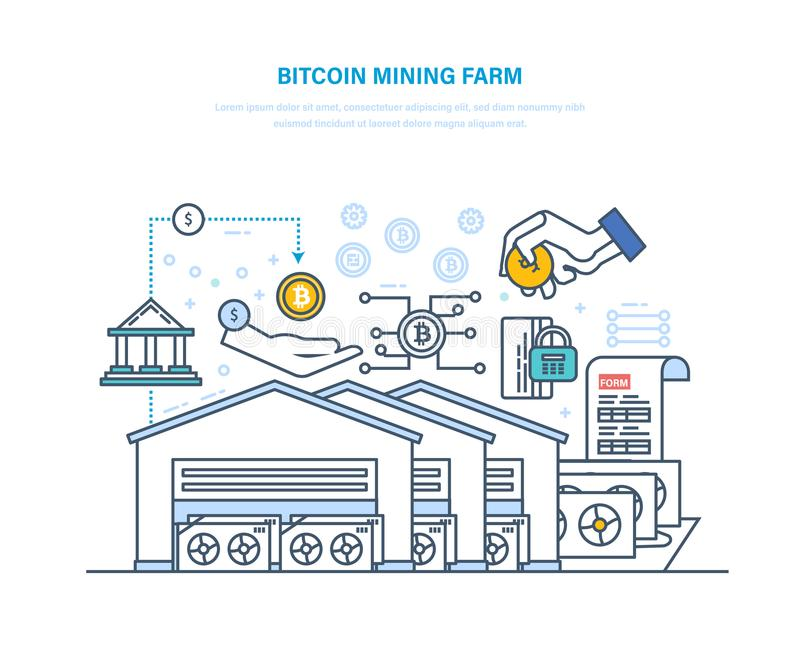 Azienda agricola di estrazione mineraria di Bitcoin Centro di elaborazione dati del computer, implementazione, elaborante le tran illustrazione vettoriale