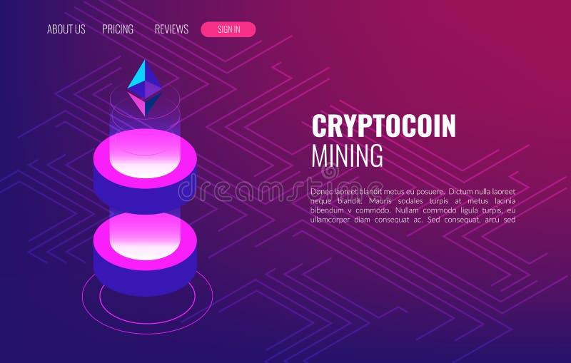 Azienda agricola di estrazione mineraria di Cryptocoin Cryptocurrency e concetto isometrico del blockchain Trasmissione dei dati  illustrazione di stock