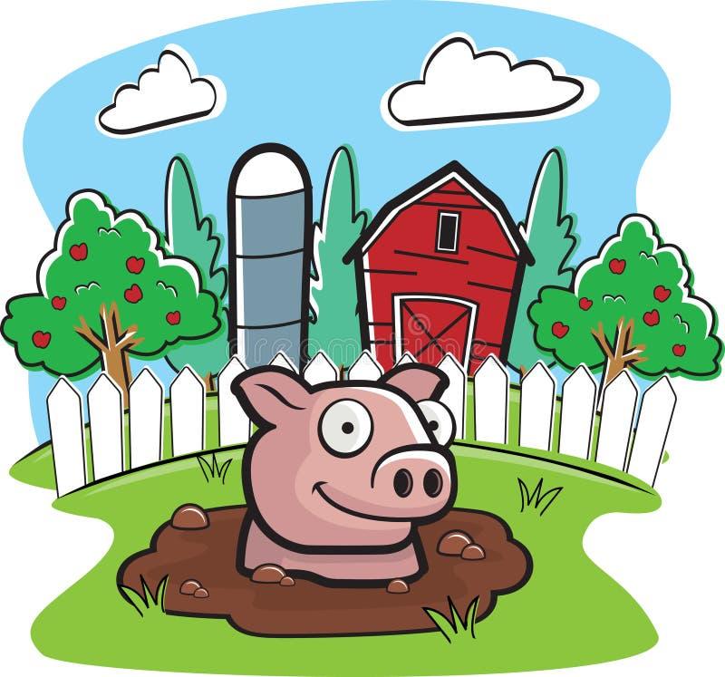 Azienda agricola di maiale illustrazione di stock