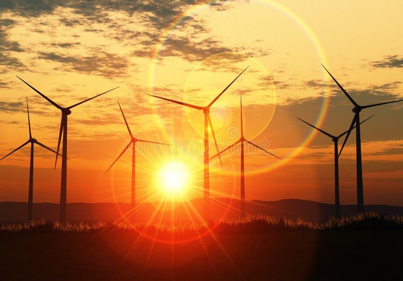 Azienda agricola di vento con il chiarore royalty illustrazione gratis