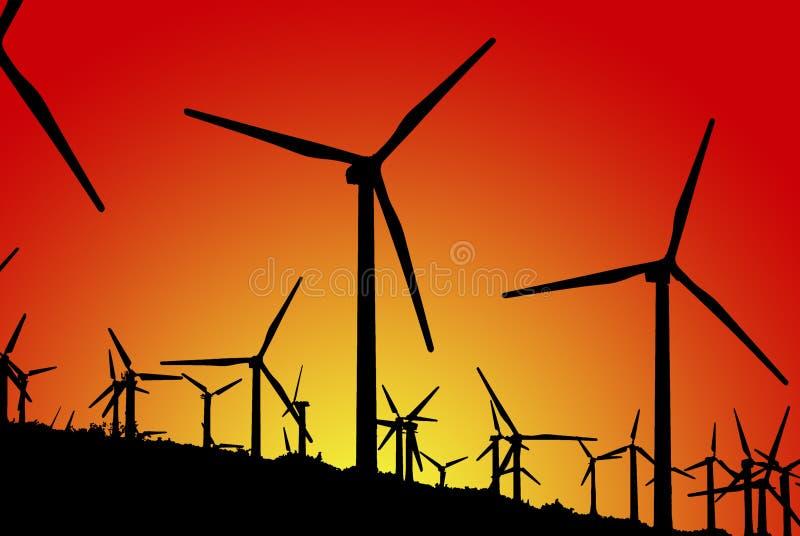 Azienda agricola di vento (siluette) fotografia stock