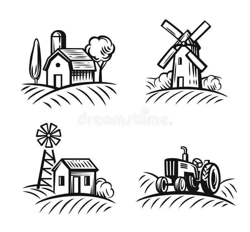 Azienda agricola e campo neri illustrazione di stock