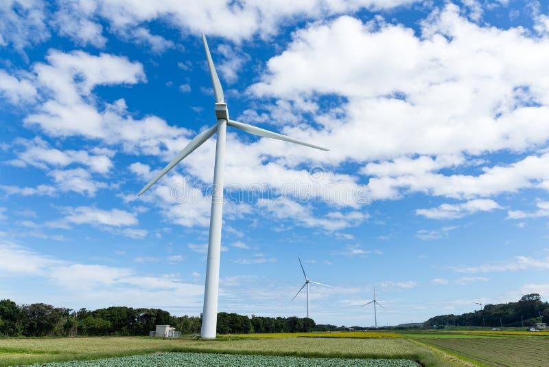 Azienda agricola e giacimento del generatore eolico fotografie stock libere da diritti