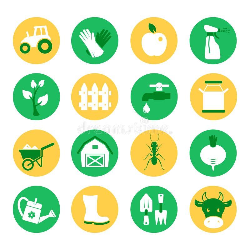 Azienda agricola e ranch Le icone di giardinaggio hanno impostato illustrazione vettoriale