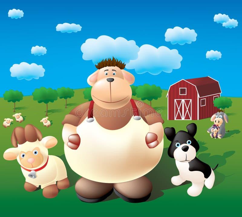 Azienda agricola felice illustrazione vettoriale