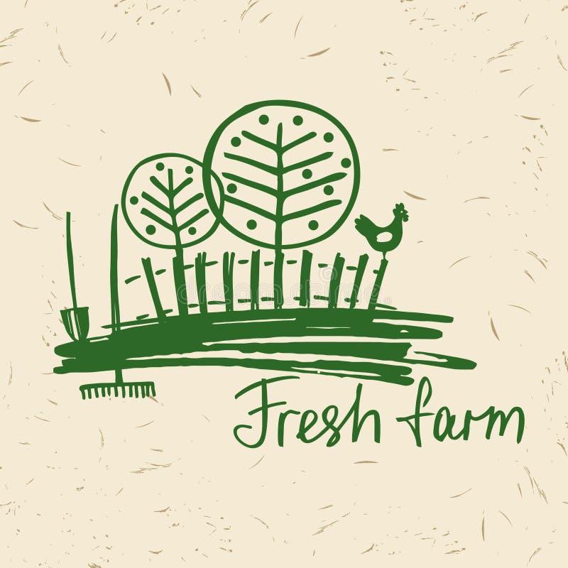 Azienda agricola fresca di logo disegnato a mano di vettore Agricoltura di logo dell'iscrizione illustrazione di stock