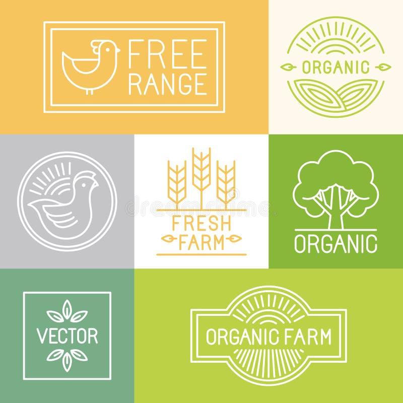 Azienda agricola fresca di vettore ed etichette libere della gamma illustrazione di stock