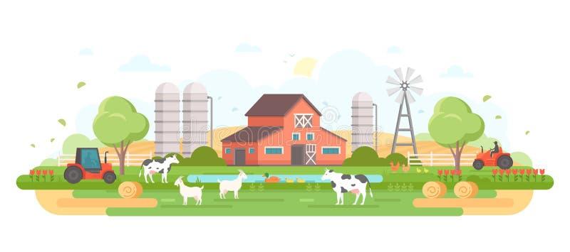 Azienda agricola - illustrazione piana moderna di vettore di stile di progettazione royalty illustrazione gratis