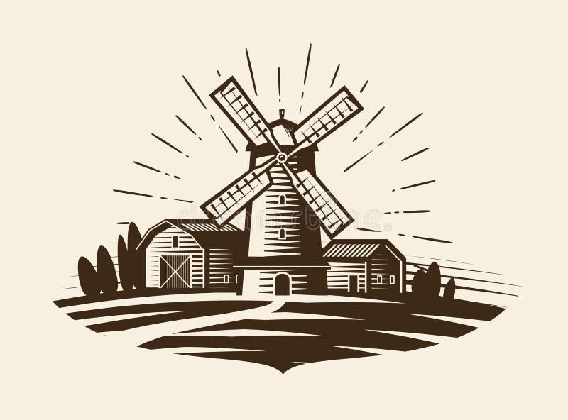 Azienda agricola, logo rurale del paesaggio o etichetta Agricoltura, commercio nel settore agricolo, villaggio, icona del mulino  illustrazione di stock