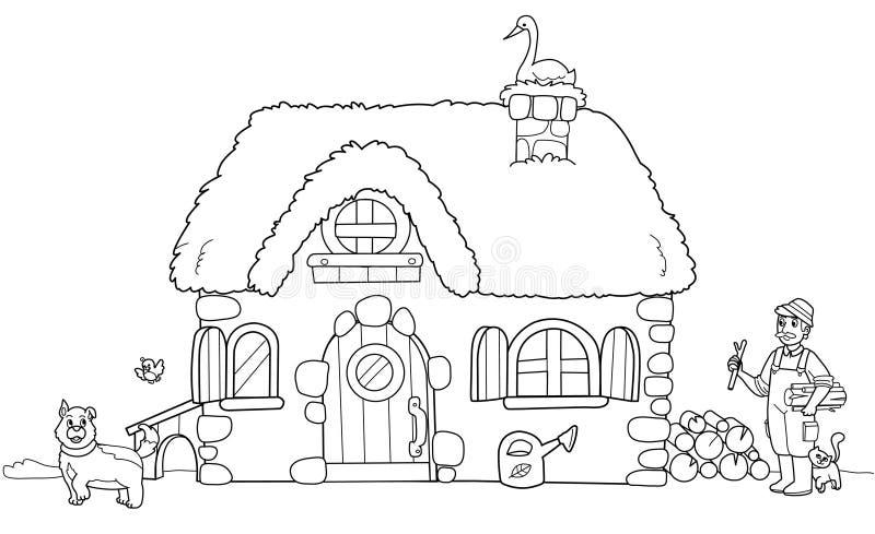 Azienda agricola sveglia, illustrazione di coloritura illustrazione di stock