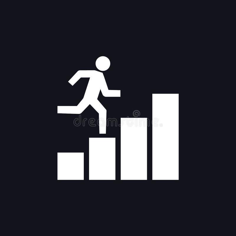 Azienda crescente che dirige l'icona del grafico dell'uomo Illustrazione di vettore royalty illustrazione gratis
