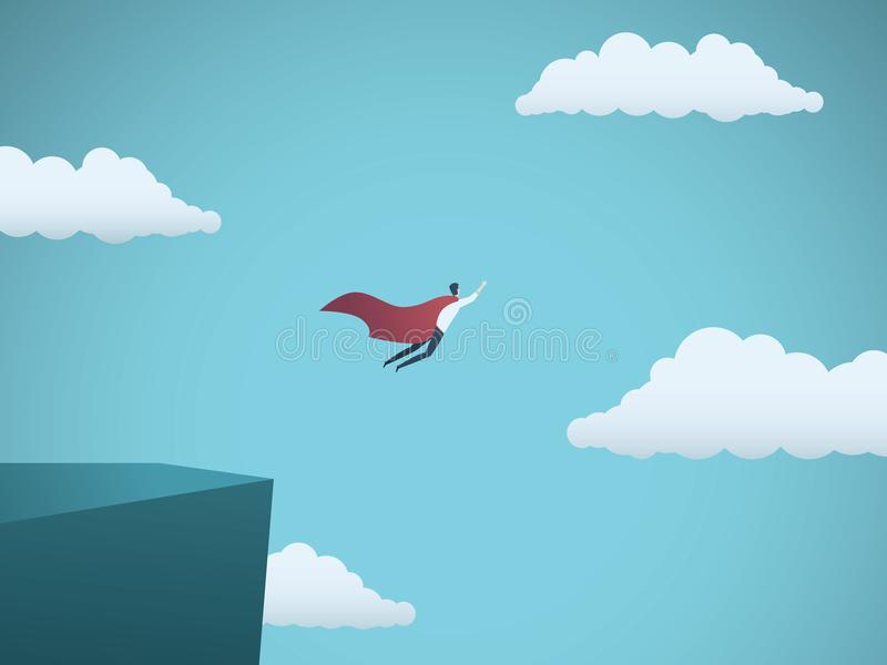 Azienda leader come concetto di vettore del supereroe Simbolo di potere, di direzione, di successo, di ambizione e del risultato illustrazione di stock