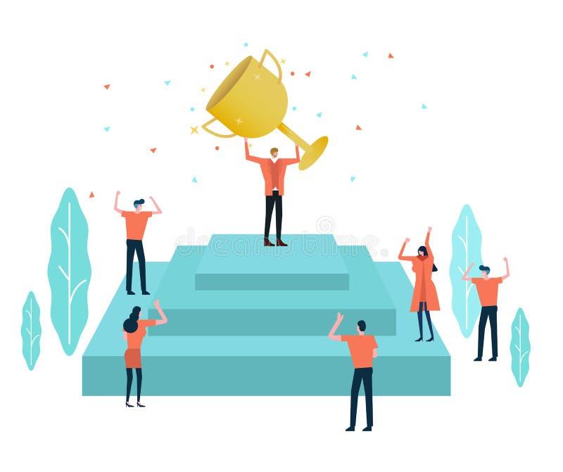Azienda leader con un trofeo ed il suo gruppo che celebrano il loro successo illustrazione di stock