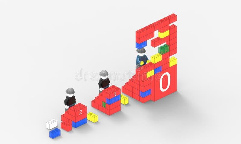 Azienda leader ed avanzamento sociale rosso di idea della concorrenza della parete e su fondo bianco royalty illustrazione gratis