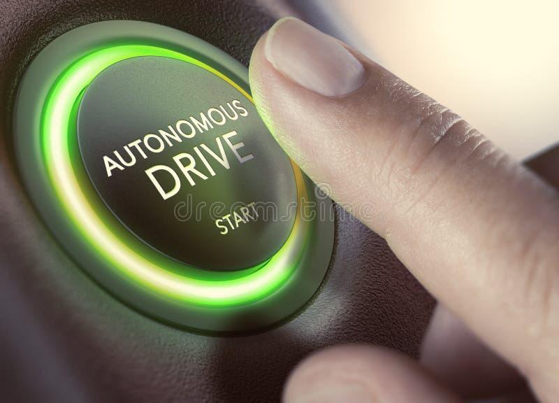 Azionamento autonomo, Auto-movente veicolo illustrazione vettoriale