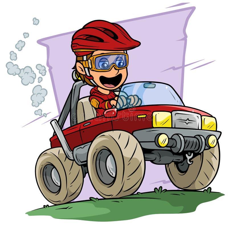 Azionamento del carattere del ragazzo del fumetto grande fuori dal camion della strada illustrazione di stock