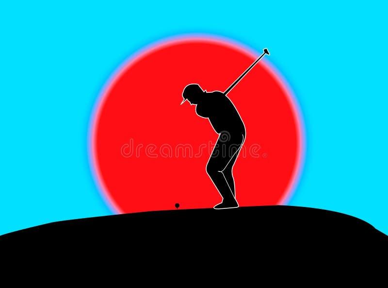 Azionamento del giocatore di golf illustrazione di stock