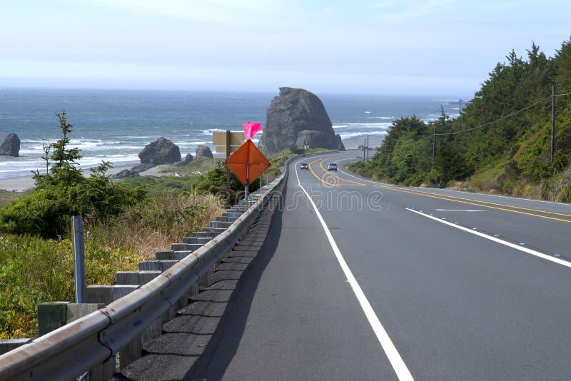 Azionamento del litorale dell'Oregon. fotografia stock