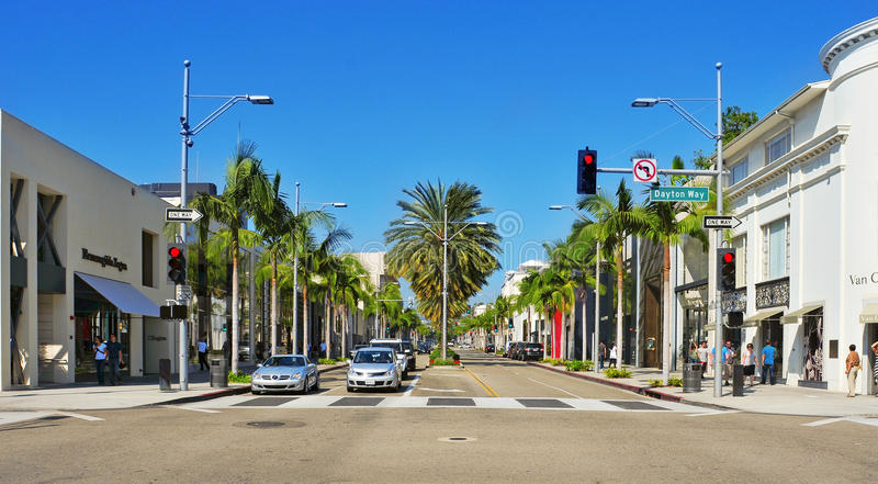Azionamento del rodeo, Beverly Hills, Stati Uniti immagine stock libera da diritti