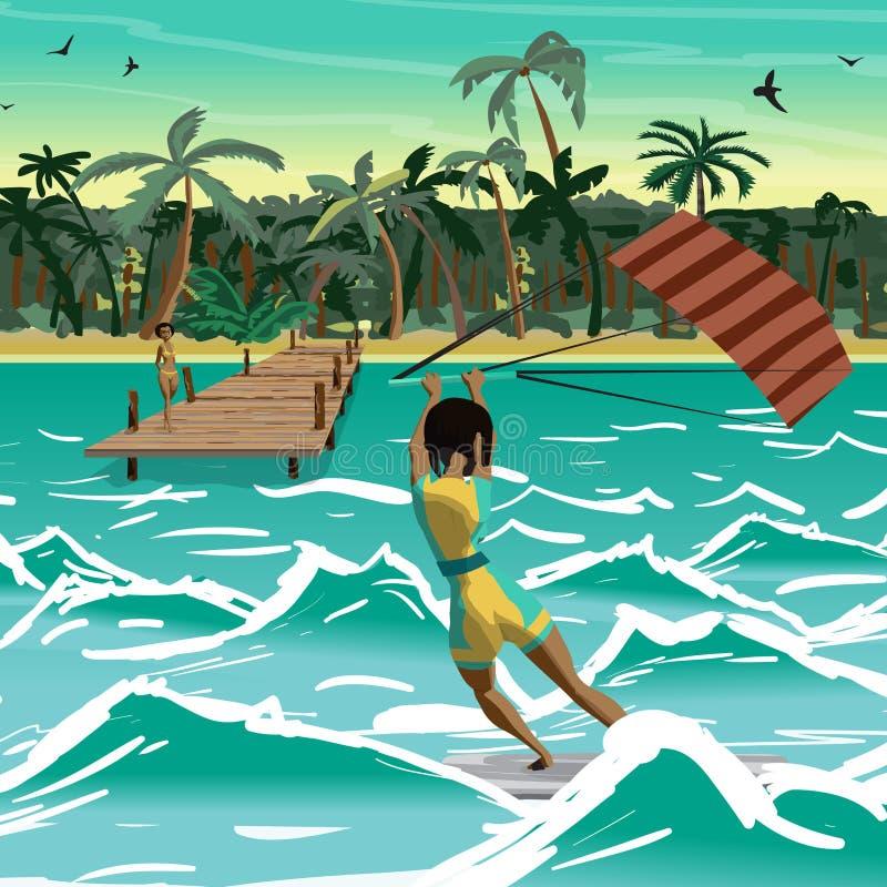 Azionamento della donna di afro a praticare il surfing dell'aquilone Vista posteriore Windsurf della ragazza sopra illustrazione vettoriale