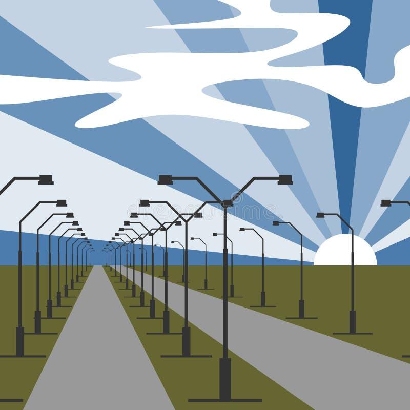 Azionamento della strada principale con le luci da entrambi i lati Strada di viaggio all'orizzonte sotto cielo blu con il sole e  illustrazione vettoriale