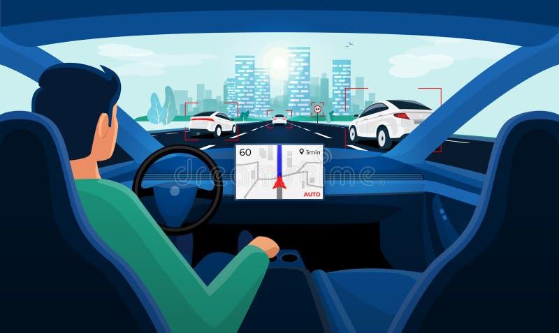 Azionamento Driverless astuto autonomo di auto dell'automobile Driver senza le mani sulla direzione royalty illustrazione gratis