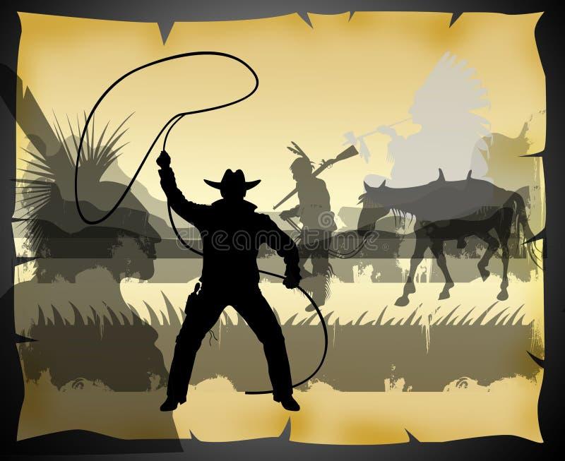 Azione ad ovest con gli indiani ed il cowboy su un vecchio documento illustrazione di stock