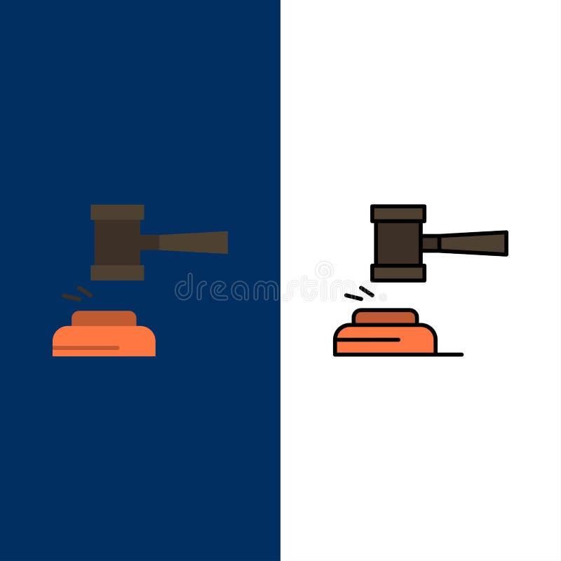 Azione, asta, corte, Gavel, martello, giudice, legge, icone legali Il piano e la linea icona riempita hanno messo il fondo blu di illustrazione di stock