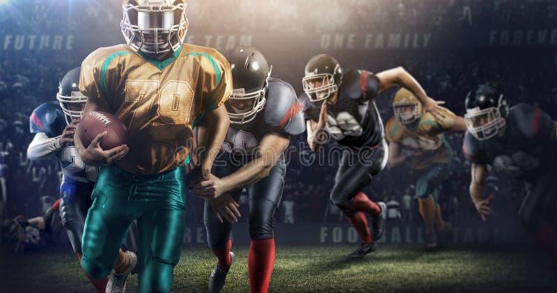 Azione brutale di calcio sullo stadio 3d giocatori maturi con la palla fotografia stock