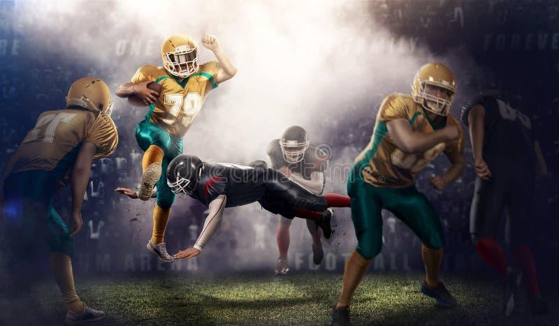 Azione brutale di calcio sullo stadio 3d giocatori maturi con la palla immagine stock