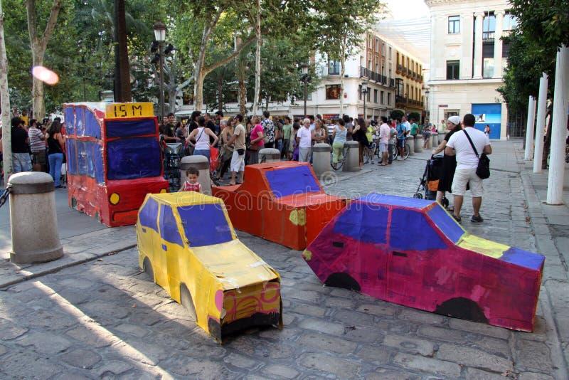 Azione dei residenti di Siviglia a sostegno di trasporto pubblico fotografie stock libere da diritti
