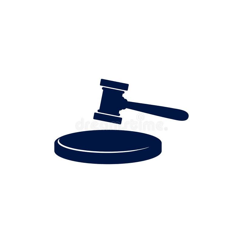 Azione dell'illustrazione dell'icona di vettore del martello del giudice Simbolo di Gavel del giudice illustrazione di stock