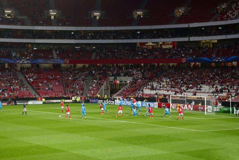 Azione di calcio o di calcio - lega di campioni di UEFA fotografie stock libere da diritti