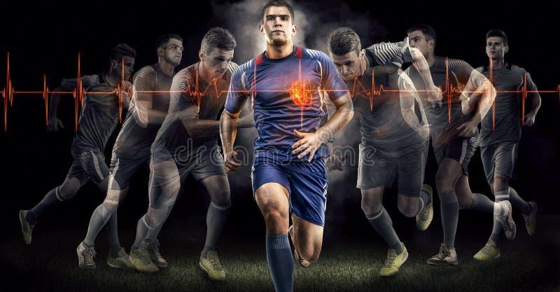 Azione di calcio sul nero effetto del cuore di battitura immagini stock libere da diritti