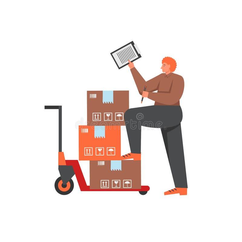 Azione di consegna, illustrazione isolata stile piano di vettore illustrazione vettoriale