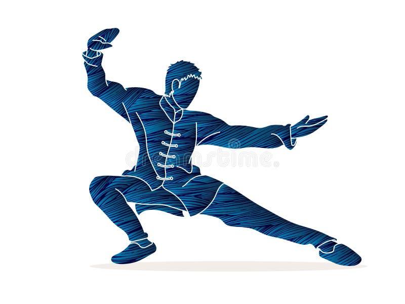 Azione di kung-fu pronta a combattere fumetto illustrazione di stock