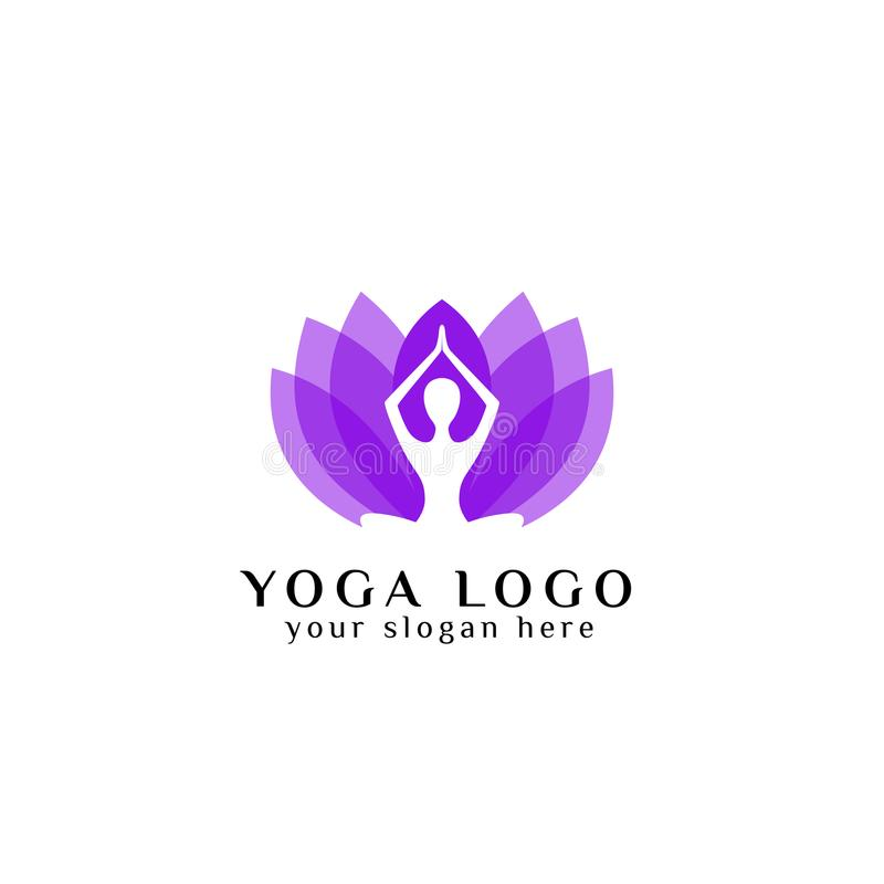 Azione di progettazione di logo di yoga di benessere nello stile di colore della sovrapposizione meditazione umana nell'illustraz illustrazione vettoriale