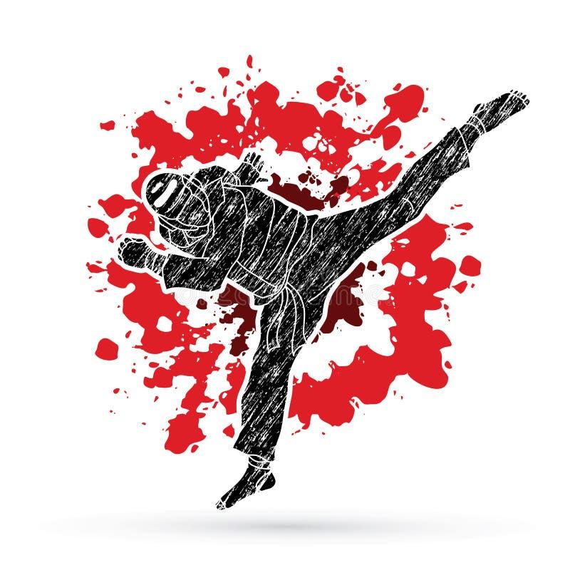 Azione di scossa di salto del Taekwondo con l'attrezzatura della guardia illustrazione vettoriale