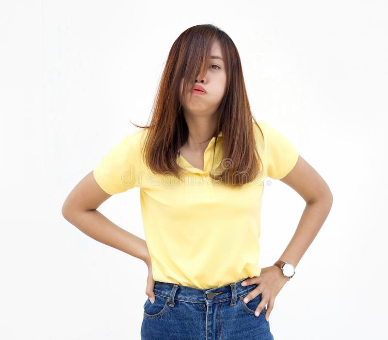 Azione lunatica di signora asiatica su bianco fotografia stock libera da diritti