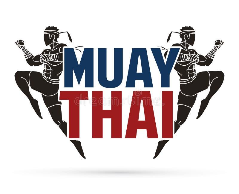 Azione tailandese di Muay, pugilato tailandese che salta per attaccare con il grafico del fumetto del testo illustrazione di stock
