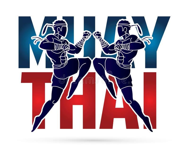Azione tailandese di Muay, pugilato tailandese che salta per attaccare con il grafico del fumetto del testo royalty illustrazione gratis