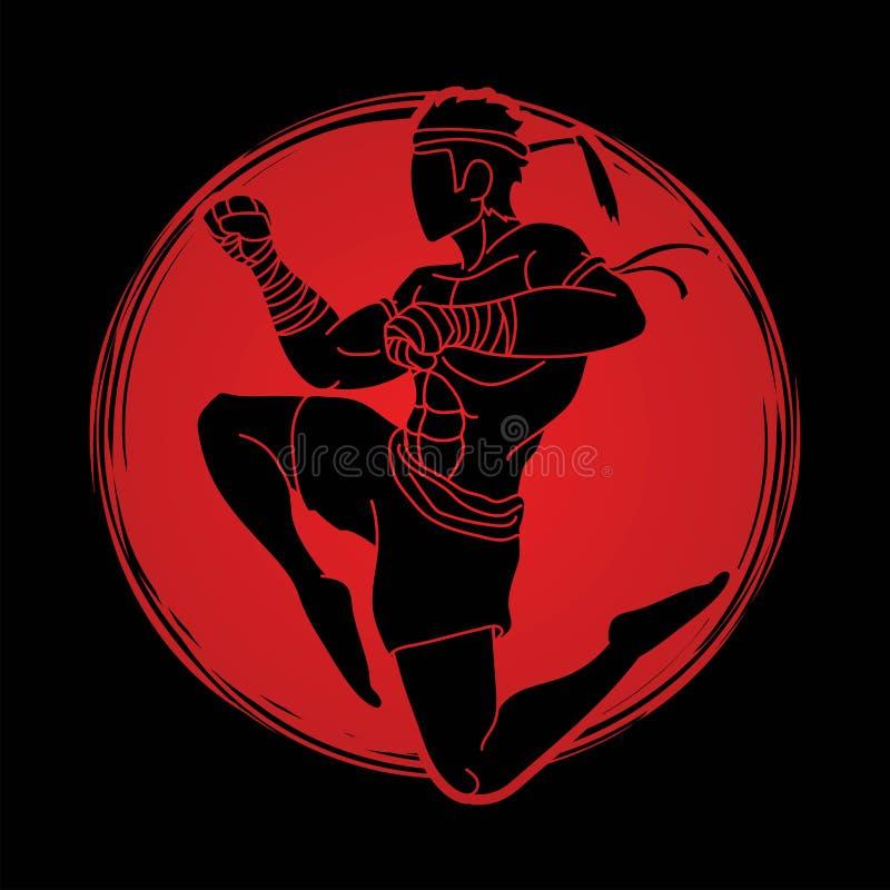Azione tailandese di Muay, pugilato tailandese che salta per attaccare il fumetto di kickboxing illustrazione di stock