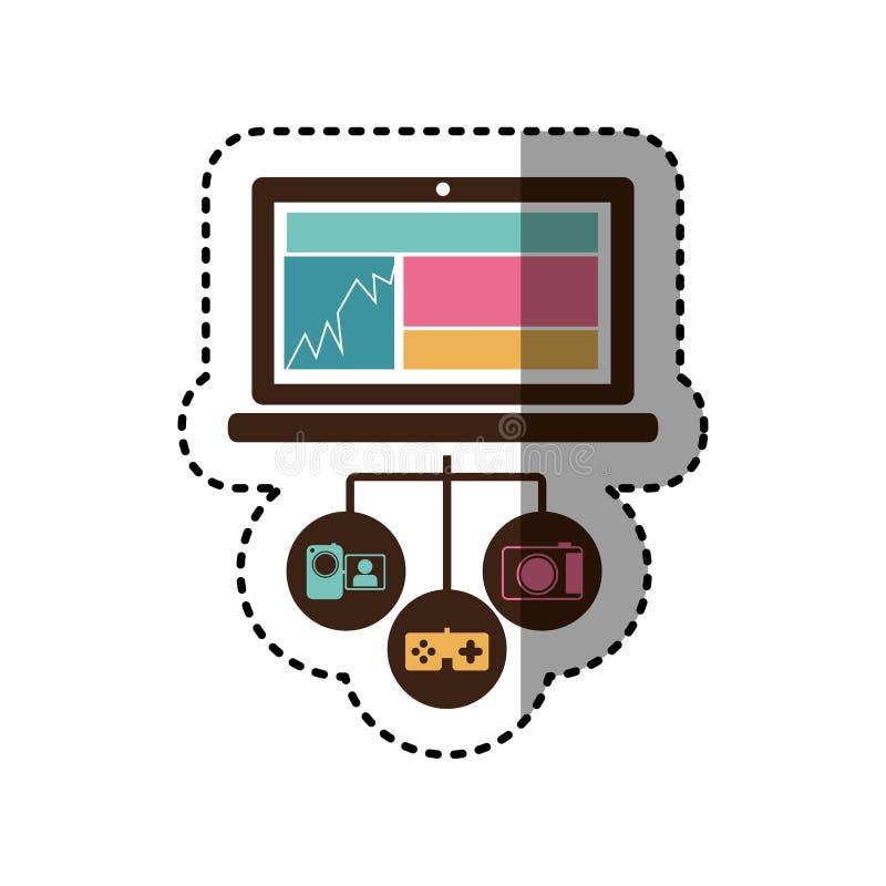 azione variopinte dell'icona del database server del computer portatile di tecnologia dell'autoadesivo illustrazione di stock
