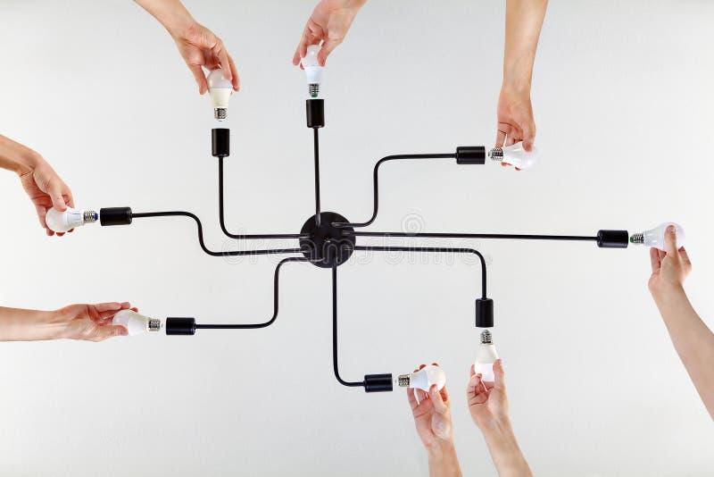 Azioni congiunte dell'impiegato quando lo scopo comune è lampade avvitate fotografie stock